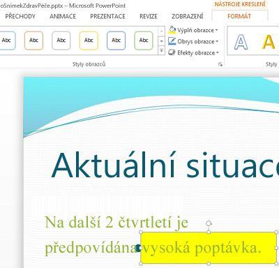 Přetáhněte myší textové pole tak, aby překrylo původní text