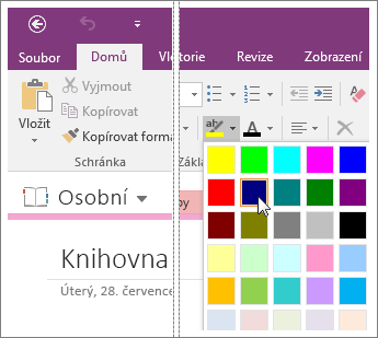 Snímek obrazovky s tlačítkem Barva zvýraznění textu ve OneNotu 2016