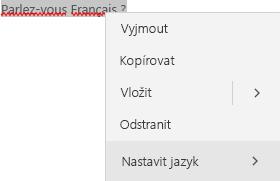 Vybraný text ve francouzštině a místní nabídka pro nastavení jazyka