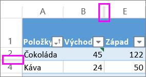 Dvojité čáry mezi řádky a sloupci označují skryté řádky nebo sloupce