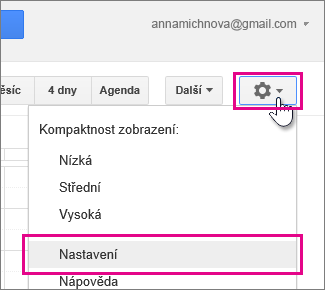 kalendář google – nastavení – nastavení