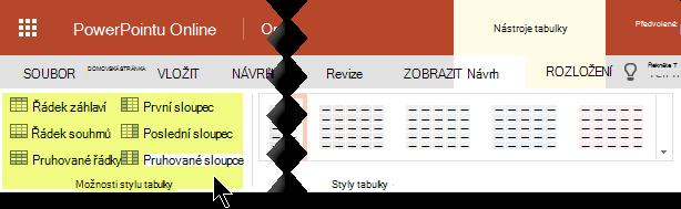 Do určitých řádků nebo sloupců v tabulce můžete přidat styly stínování.