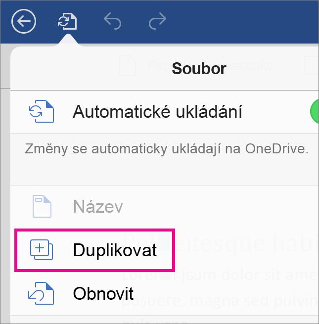 Pokud chcete dokument uložit s jiným názvem, klepněte na Soubor a potom na Duplikovat.