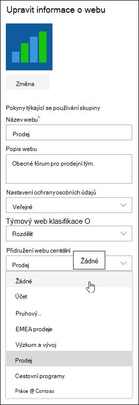 Zrušit webů v centrální lokalitě služby SharePoint