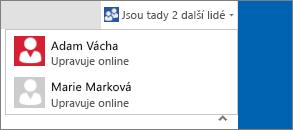 Dialog s rozevíracím seznamem, ve kterém se zobrazuje, kdo upravuje dokument