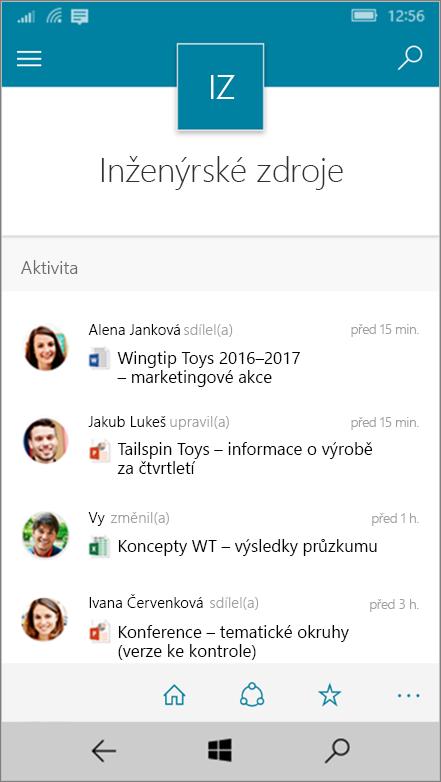 Windows 10 Mobile zobrazující aktivity, soubory, seznamy a navigace