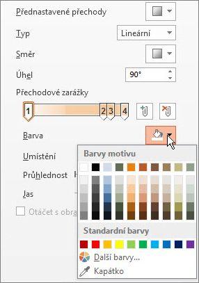 Změna barvy jednotlivých přechodových zarážek