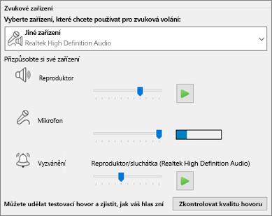 Vlastní nastavení – reproduktor, mikrofon a vyzvánění – pro zvukové zařízení