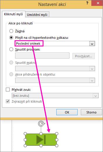 Zobrazí v PowerPointu dialog pro nastavení tlačítek akcí.