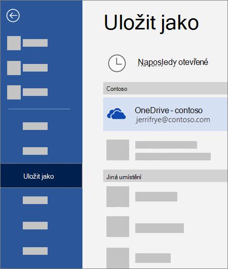 Uložení souboru z Wordu na OneDrive pro firmy