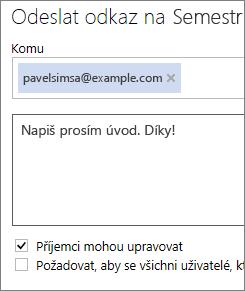 Odeslání odkazu e‑mailem