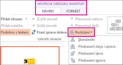 Možnosti rozložení pro organizační diagram SmartArt