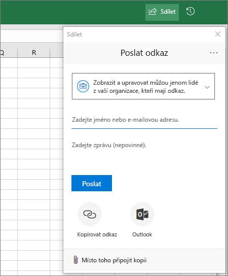 Ikona a dialogové okno sdílení v Excelu
