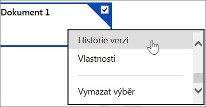 Položka nabídky historie verzí na webu OneDrive