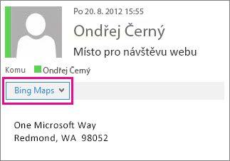 Zpráva v Outlooku s aplikací Mapy Bing