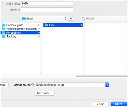 Ve výsledcích hledání poklikejte na složku po spuštění, poklikejte na složku aplikace Excel a potom klikněte na Uložit.