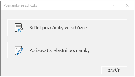 Dialogové okno Poznámky ze schůzky v Outlooku