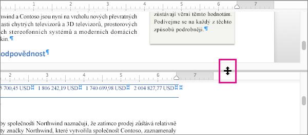 Okno můžete rozdělit tak, aby zobrazovalo různé části stejného dokumentu, a taky zobrazovat různá zobrazení.