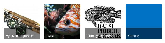 Čtyři dlaždice s kategoriemi, každá s obrázkem rybaření a názvem