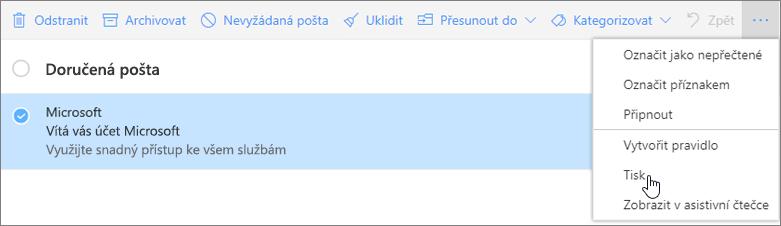 Snímek obrazovky s vybranou možností tisku e-mailové zprávy