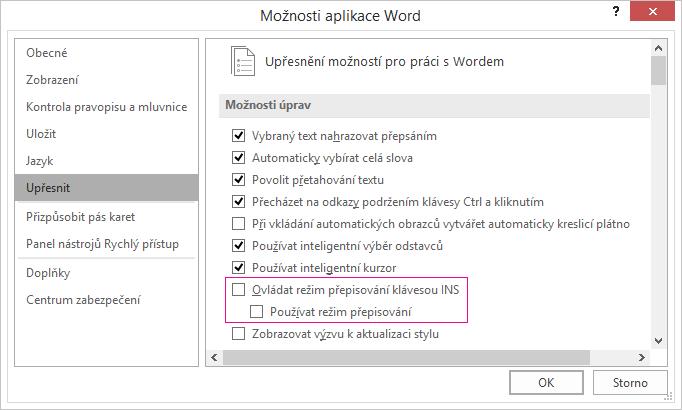 Dialogové okno Upřesnit možnosti aplikace Word, v části Možnosti úprav, zaškrtávací políčko použít režim přepisování