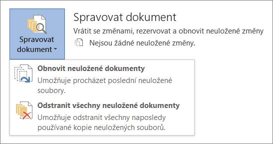 Spravovat dokumenty Office 2016