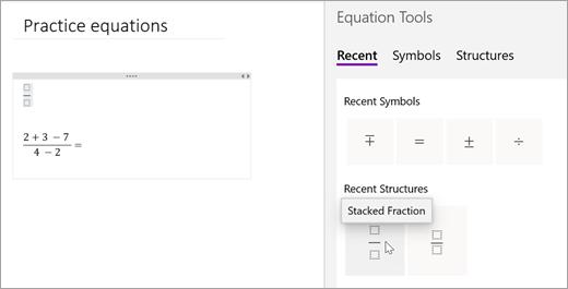 OneNote uloží vámi vybrané symboly a struktury. Výběrem možnosti poslední vyberte Zobrazit a použít.