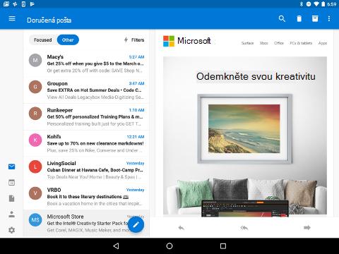 Zobrazí možnosti navigace v levém dolním rohu doručené pošty aplikace Outlook.