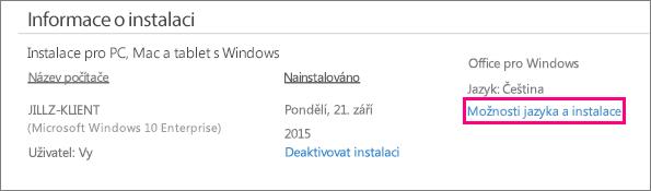 Ukazuje odkaz na Možnosti jazyka a instalace ve správě účtu Office 365.