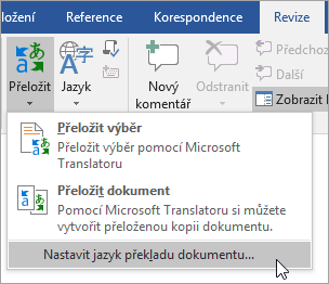 Nastavení jazyka pro překlad dokumentu se zobrazí v nabídce theTranslate