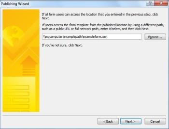 InfoPath 2010 - Publish a Form