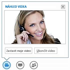 Snímek obrazovky s možnostmi, které se zobrazí při umístění myši na tlačítko videa