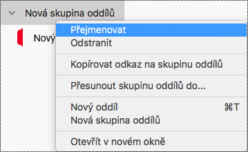 Přejmenování skupiny oddílů ve OneNotu pro Mac