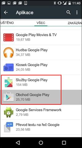 Vymazání mezipaměti aplikace Google Play Store