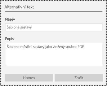 Přidání alternativního textu k vloženým souborům ve OneNotu pro Windows 10