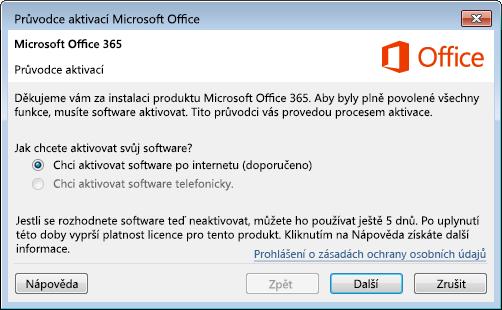 Zobrazuje Průvodce aktivací pro Office 365