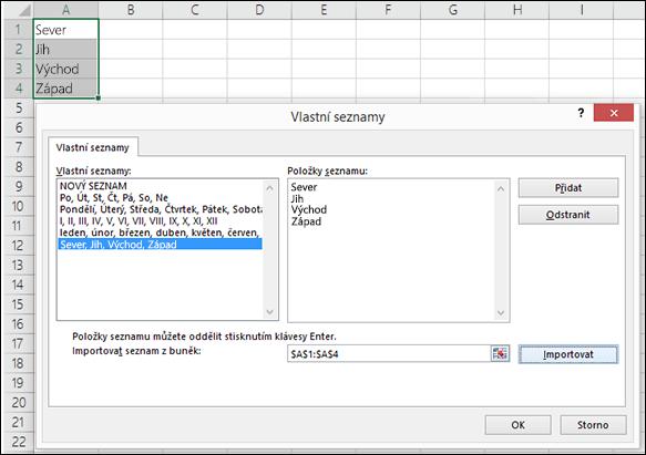 Dialogové okno Vlastní seznamy otevřené z nabídky Soubor > Možnosti > Upřesnit > Obecné > Upravit vlastní seznamy V Excelu 2007 klikněte na tlačítko Office > Možnosti aplikace Excel > Oblíbené > Upravit vlastní seznamy.