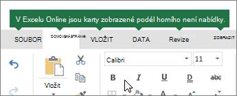 Domů, vložení, data, zobrazení karet v Excelu pro web