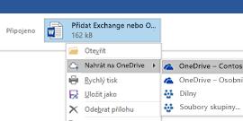 Nahrávání outlookových příloh na OneDrive