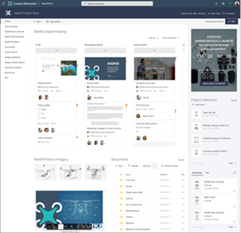 Obrázek týmového webu s časovačem počítání, články a Planner