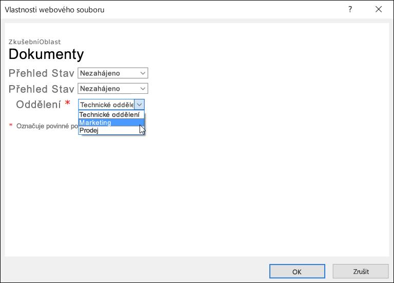 Dialogové okno Vlastnosti webového souboru s polem Oddělení zobrazujícím seznam tří možností