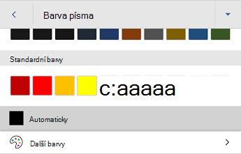 Nabídka Barva písma Wordu pro Android