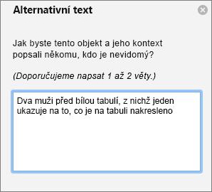 Podokno alternativního textu pro přidání alternativního textu k obrázku v aplikaci Outlook
