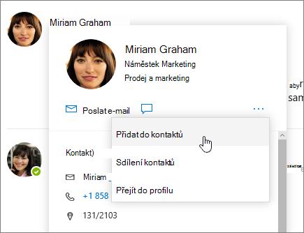Snímek obrazovky s otevřít kartu kontaktu s přidat do kontaktů vybrané