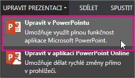 Úpravy v desktopové aplikaci PowerPoint