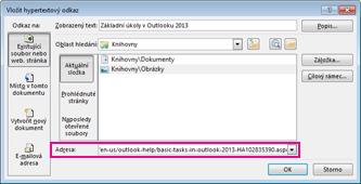 Dialogové okno hypertextový odkaz