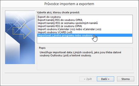 Průvodce importem a exportem – import z jiného programu nebo souboru