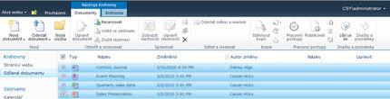 Knihovna dokumentů služby SharePoint s více soubory označenými pro rezervaci