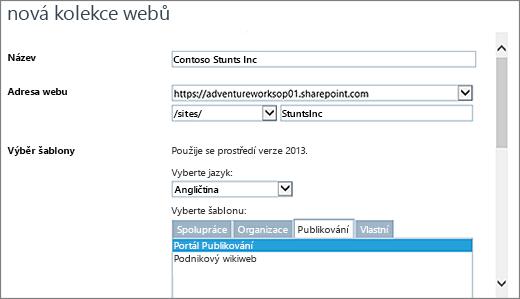 Horní polovina dialogu Nová kolekce webů se zvýrazněnou možností Portál publikování