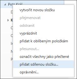 Možnost přidání sdílené složky v nabídce Outlook Web Appu po kliknutí pravým tlačítkem